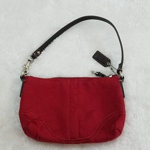 Coach Red Signature Jacquard Wristlet Bag